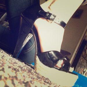 NIB Black Patent Leather Strappy Heels